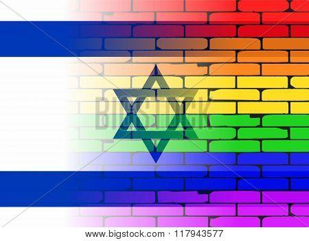 Gay Rainbow Wall Israel Flag