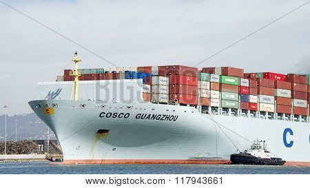 Tugboat Sandra Hugh Assisting Cargo Ship Cosco Guangzhou To Maneuver Into The Port Of Oakland