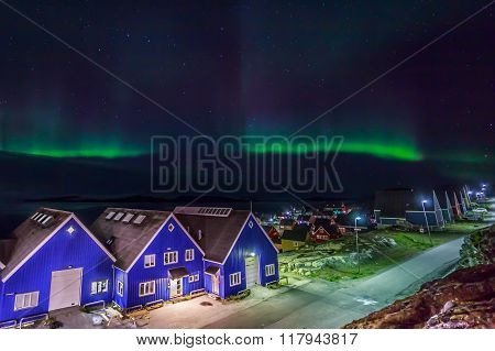 Northern Lights Over Nuuk City, Greenland