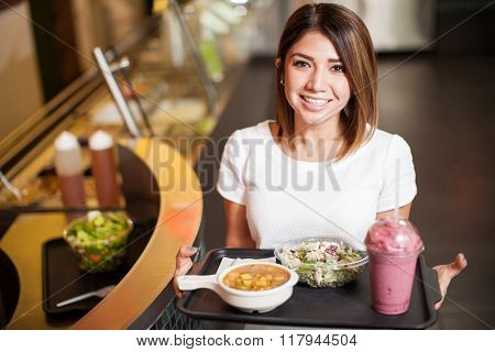 Cute Woman With A Tray Of Healthy Food