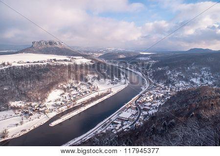 Elbe Valley With Mountain Pfaffenstein