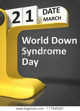 vintage calendar World Down Syndrome Day 21st of march