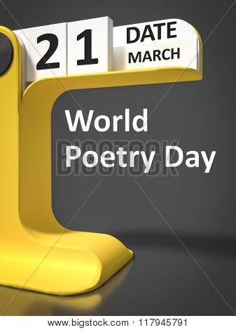 vintage calendar World Poetry Day 21st of march