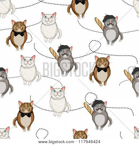 Seamless Pattern All over Background with character cats on a dotted lines background