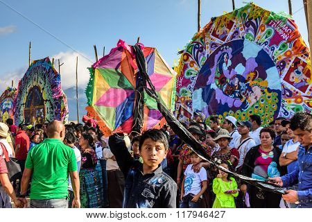 Boy & Visitors At Giant Kite Festival, All Saints' Day, Guatemala