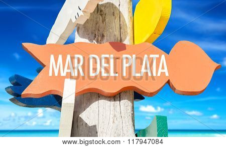 Mar Del Plata welcome sign with beach