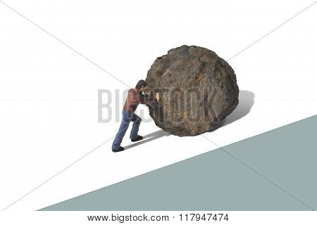 Person Pushing a Boulder Uphill