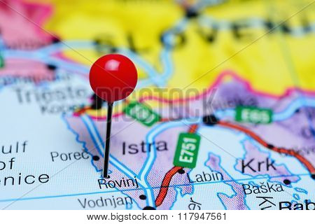 Rovinj pinned on a map of Croatia