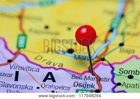 Beli Manastir pinned on a map of Croatia