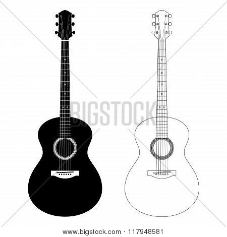 Vector Silhouette And Contour Illustration Of Acoustic Guitars