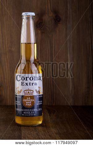 CHISINAU MOLDOVA -February 05 2016: Corona Extra Beer. Brewed by Cerveceria Modelo Mexico.