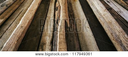 Driftwood Background Texture, Panorama - Wood And Timber In Diminishing Perspective.