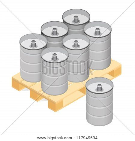 Isometric beer kegs on wooden pallet. Vector