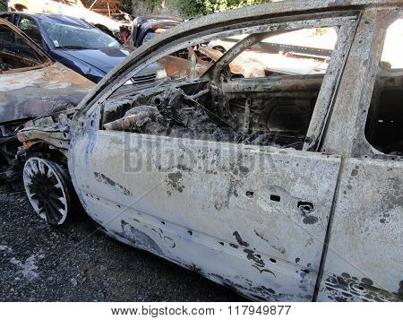 Burn Sport Car Wreck