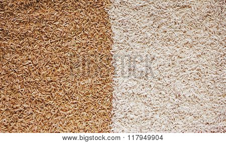 White And Brown Rice Grains - Contrast Background Texture.