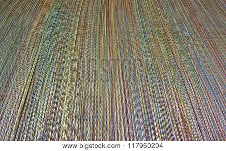 Colorful Beach Straw Mat Background Texture, With Diminishing Perspective.