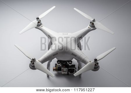 Varna, Bulgaria - May 28, 2015: Flying Drone Quadcopter Dji Phantom 2 With Digital Camera Gopro Hero