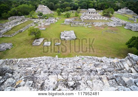 Aerial View From The Top Of Ancient Mayan Pyramid To Ruins Of City And Jungles
