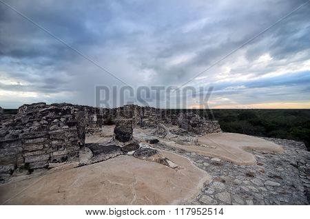 Top Of Mayan Pyramid Under Tragic Stormy Sky