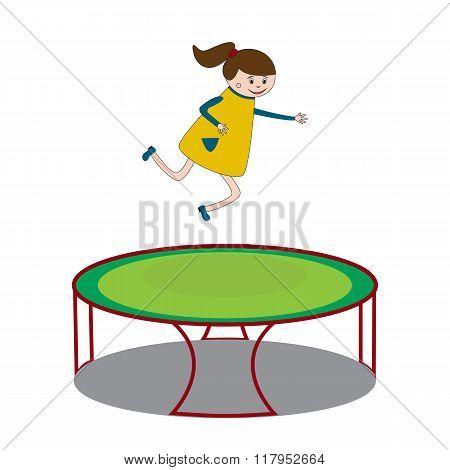 Girl Jumping On Trampoline