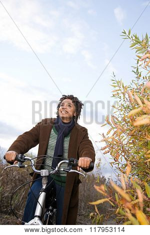 the woman cycling