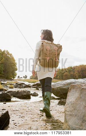 Mature woman hiking