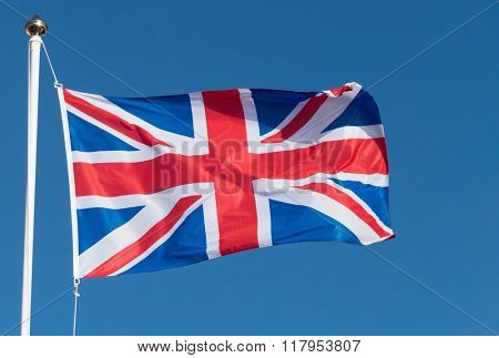 UK Union Flag of Great Britain blowing in the wind.