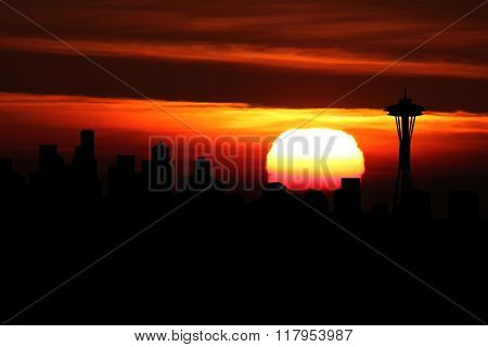 Seattle skyline at sunset illustration