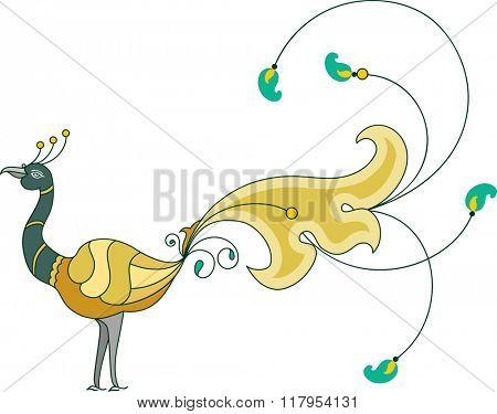 Peacock Artistic Hand Drawn Raster Art