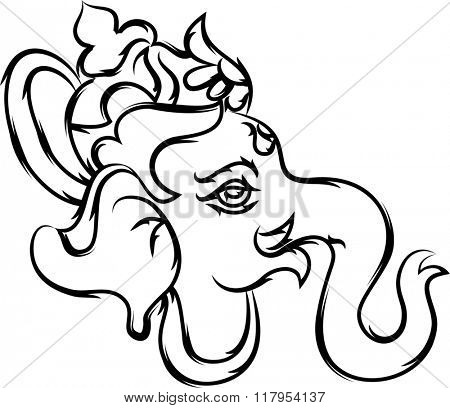 Ganesha Calligraphic Hand Drawn Raster Illustration
