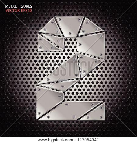 Metal Figures Two Vector On Aluminum Background
