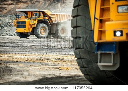 Big yellow mining truck.