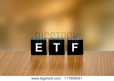 Etf Or Exchange Traded Fund On Black Block