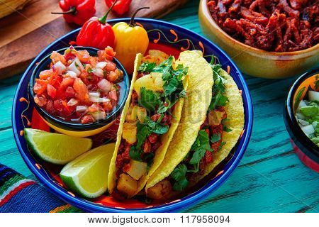 Tacos al pastor Mexican with coriander pineapple and chili