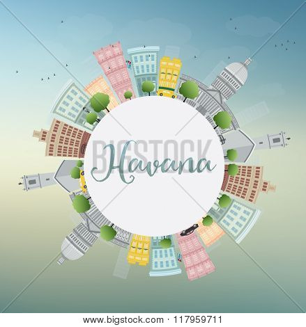 Havana Skyline with Color Building, Blue Sky and Copy Space. Business Travel and Tourism Concept with Historic Buildings. Image for Presentation Banner Placard and Web Site.