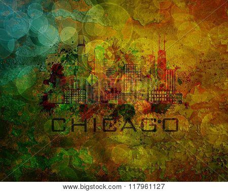 Chicago City Skyline On Grunge Background Illustration