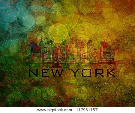 New York City Skyline On Grunge Background Illustration