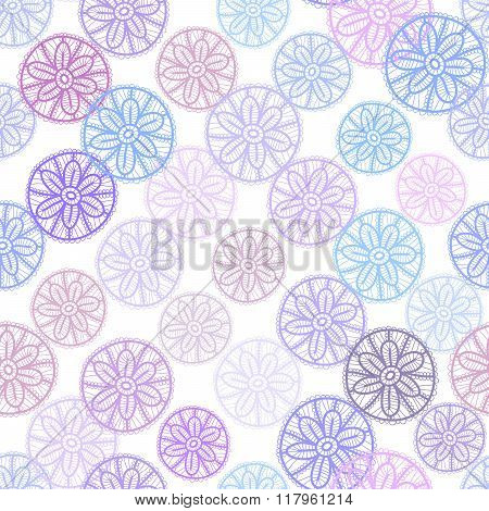 Lace seamless pattern with lilac pink purple blue flowers on white background. Pastel colors, abstra
