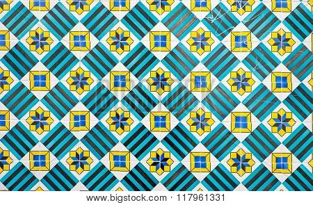 Green decorative portuguese tiles