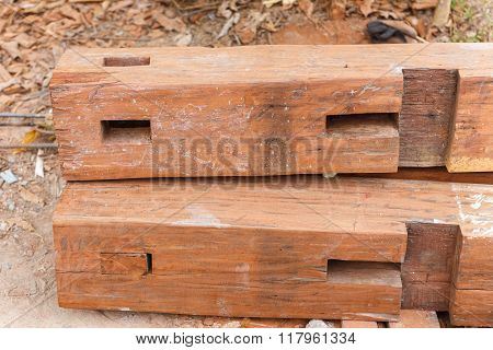 Set Of Logs Prepare For House Construction