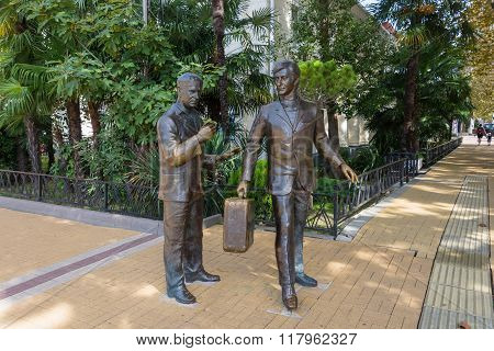 The Monument To Actors Andrei Mironov And Anatoly Papanov In Sochi.