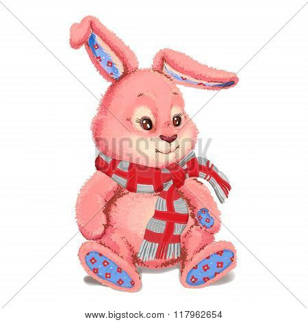 Toy Plush Pink Bunny Wearing A Scarf.