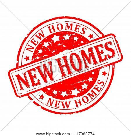 Damaged Round Red Stamp With The Word - New Homes - Vector