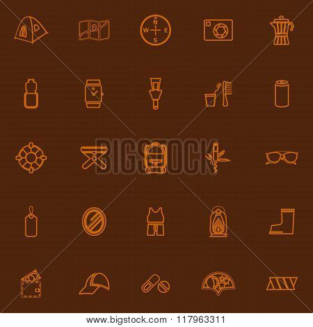 Camping Necessary Brown Line Icons