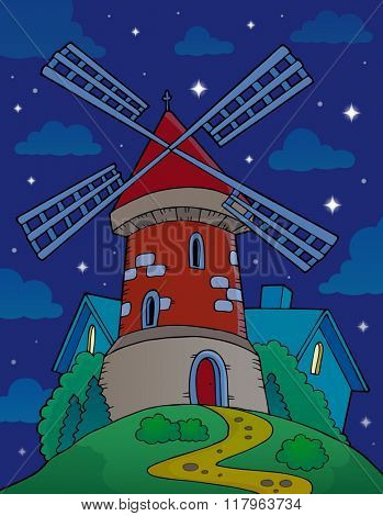 Hill with windmill at night - eps10 vector illustration.