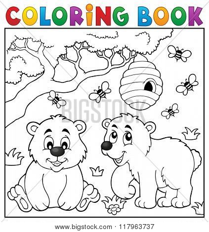 Coloring book bear theme 4 - eps10 vector illustration.