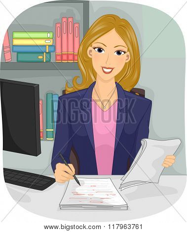 Illustration of a Female Copy Editor Checking a Manuscript