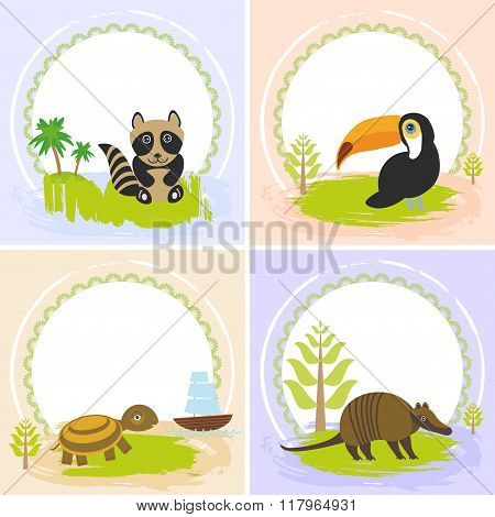 toucan bird, raccoon, turtle, armadillo, set of cards design  with funny animals, template banner for your text with round frame. Vector illustration