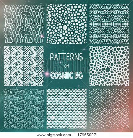 Abstract Drawn Seamless Patterns on Cosmic Background