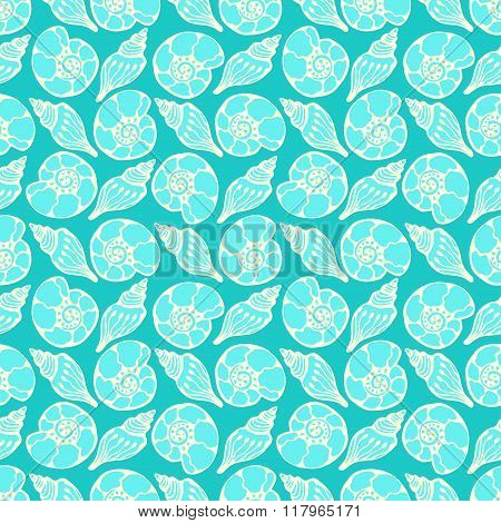 Shells seamless pattern in blue colors. Hand drawn vector marine background. Ammonites print.